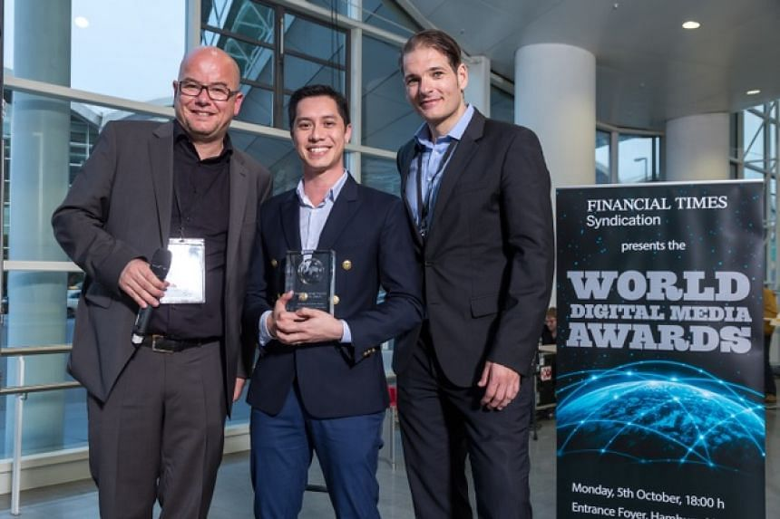 Executive video journalist Shawn Lee Miller (centre) was at the awards presentation ceremony in Hamburg to receive the prize for Best Use of Online Video.
