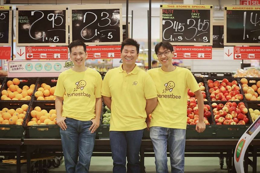 honestbee founders (from left) Isaac Tay, Joel Sng and Jonathan Low. The grocery concierge service allows customers to order items from multiple retailers.