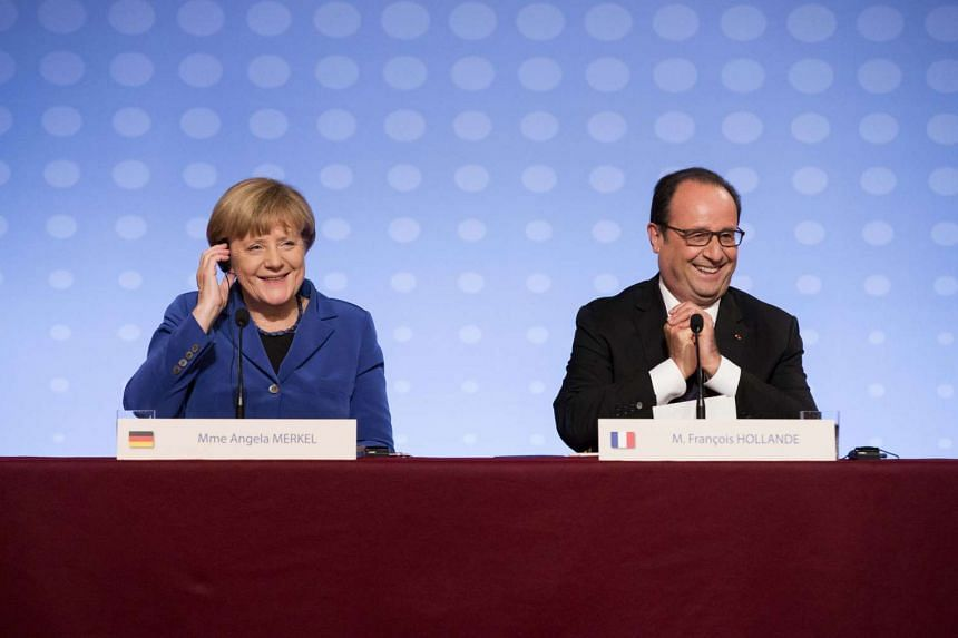 Germany's Chanellor Angela Merkel (left) and France's President Francois Hollande (right) will give a joint speech to the European Parliament in a bid to present an image of solidarity at a time of deep divisions in the EU.