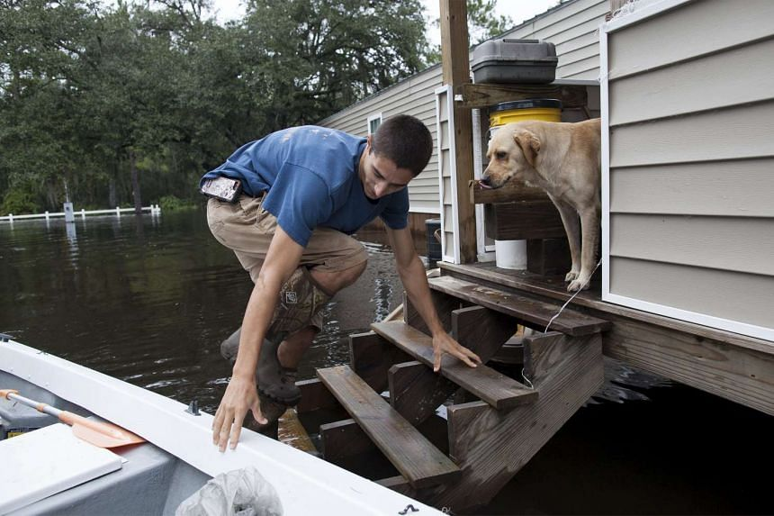 A resident checks on his dog on flooded property in Conway, South Carolina Oct 6, 2015.