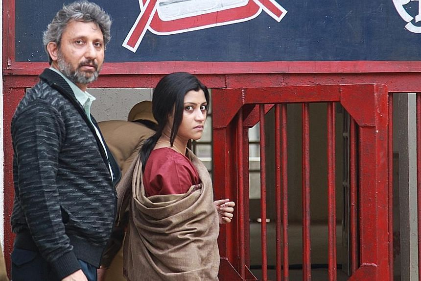 Neeraj Kabi (left) and Konkona Sen Sharma become prime suspects after their teenage daughter is found dead.
