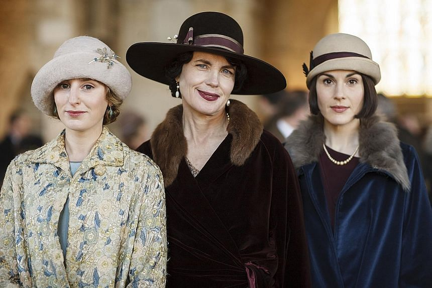 (From left) Laura Carmichael, Elizabeth McGovern and Michelle Dockery in Downton Abbey.