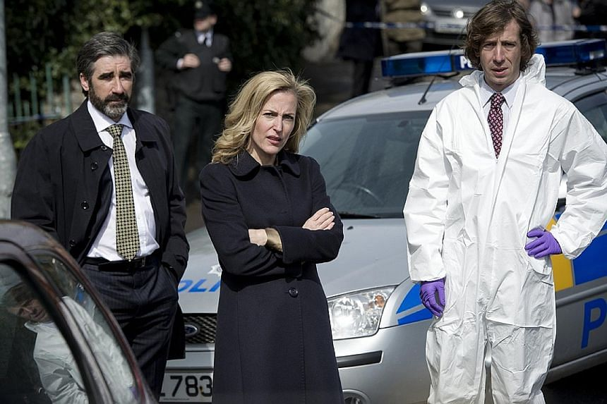 (From left) John Lynch, Gillian Anderson and Michael Colgan in The Fall.
