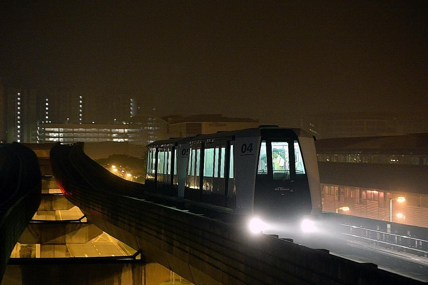 A two-car train arriving at Tongkang LRT station during a test ride yesterday. Of the 41 train cars used on the Sengkang-Punggol LRT, 16 will be modified to operate in pairs. The Land Transport Authority expects to hand them over to operator SBS Tran
