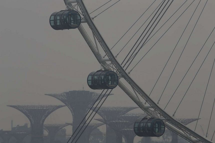 The Singapore Flyer, with the Gardens by the Bay in the background, seen shrouded in haze on Oct 5.