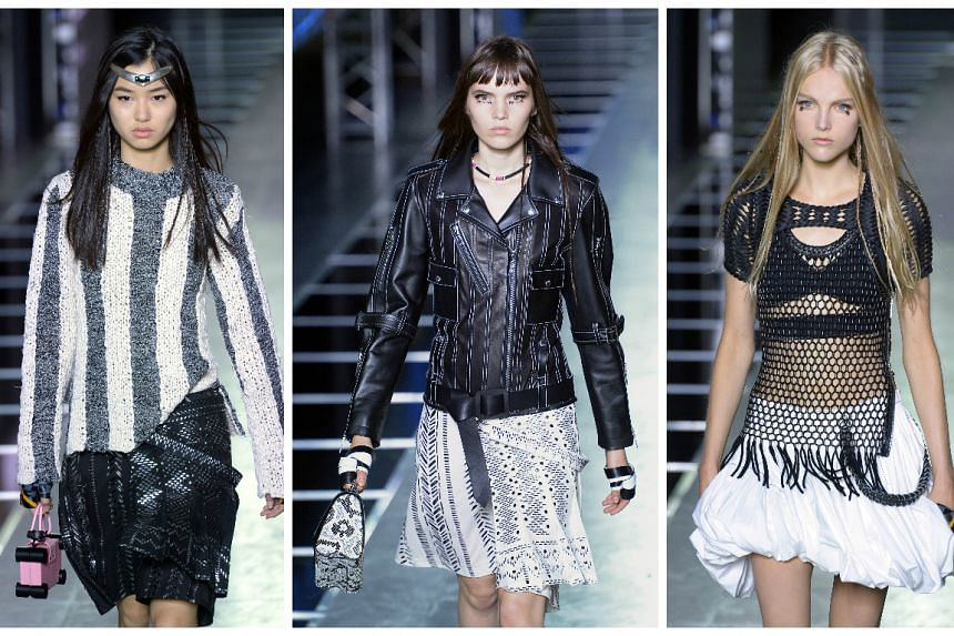 Models present creations for Louis Vuitton during the 2016 Spring/Summer ready-to-wear collection fashion show.