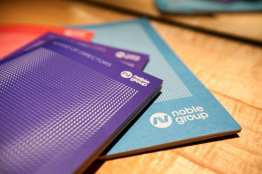 Noble Group Ltd. booklets sit on a table before a news conference during an investor day in Singapore on Aug 17, 2015