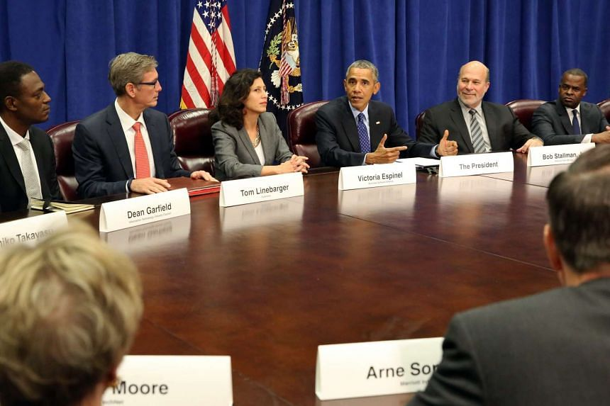 US President Barack Obama meets with agriculture and business leaders on the benefits of the Trans-Pacific Partnership for American business and workers, at the Department of Agriculture in Washington, DC on Tuesday.