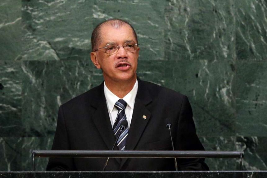 James Alix Michel, President of the Republic of Seychelles, delivers his address during the 70th session General Debate of the United Nations General Assembly at United Nations headquarters in New York, New York, USA, Sept 29, 2015.