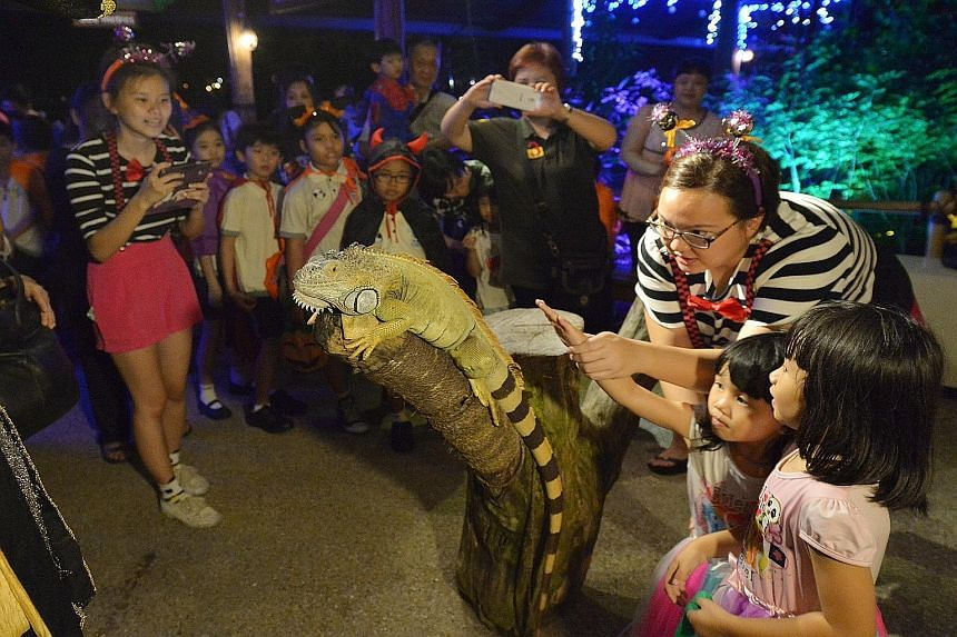 School students waiting in line to have their photographs taken with a green iguana at the preview of Safari Boo, a Halloween event for children to be hosted by the River Safari later this month. Returning for the second year, Safari Boo bills itself
