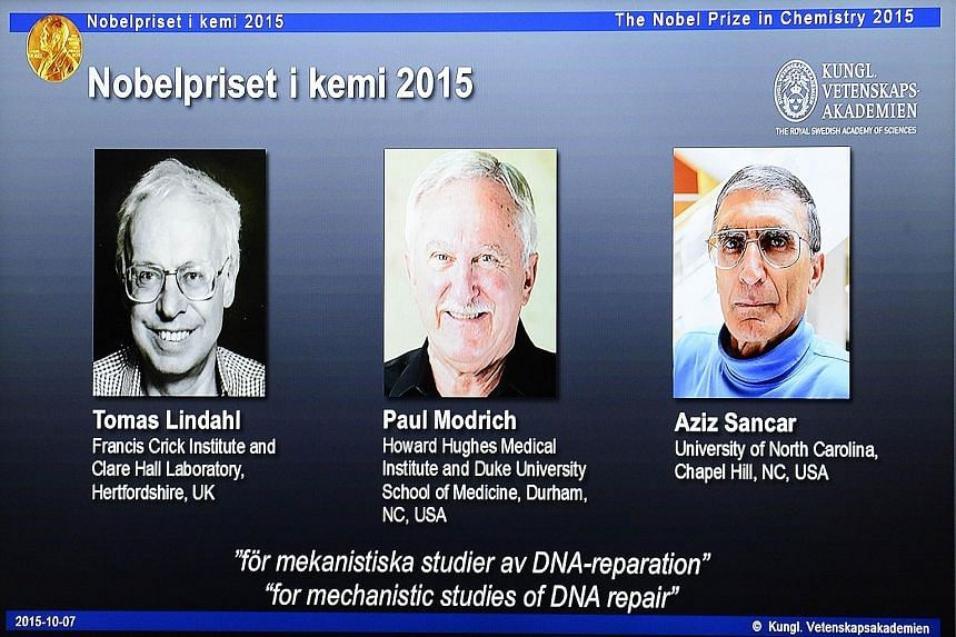 The joint winners of this year's Nobel Prize in Chemistry are (from far left) Dr Tomas Lindahl, Professor Paul Modrich and Professor Aziz Sancar.