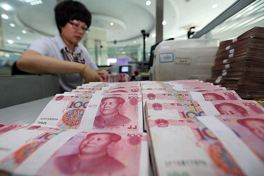 China's reserves, the world's largest, dropped US$43.3 billion (S$61.3 billion) to US$3.514 trillion last month, central bank data showed yesterday, and were down by about US$180 billion in the third quarter in their largest-ever quarterly fall, Reut