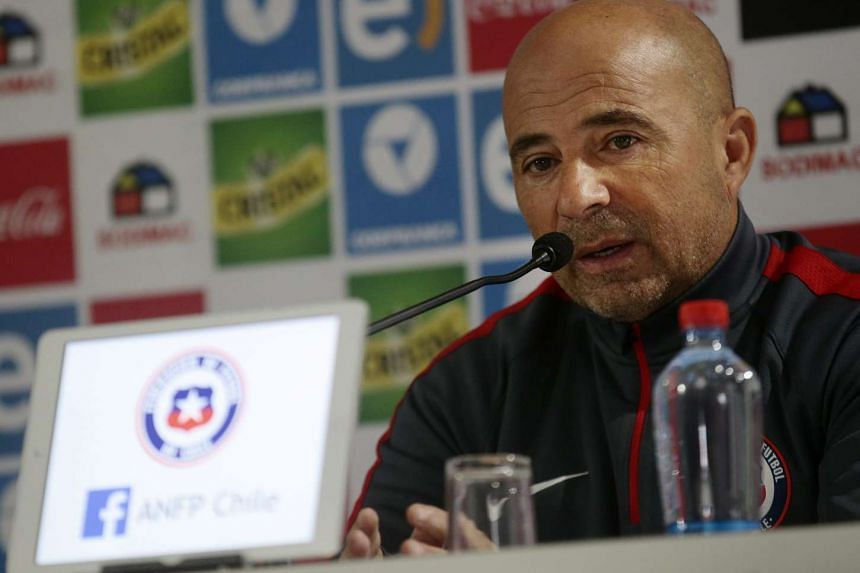 Chile national soccer team coach Jorge Sampaoli speaks during a press conference at Juan Pinto Duran sports complex in Santiago, Chile, Oct 7, 2015.