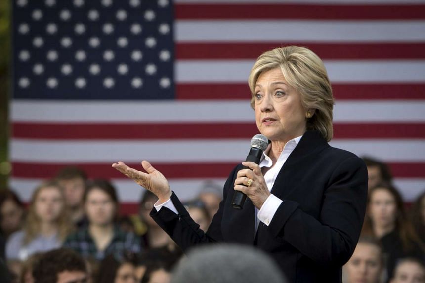 US Democratic presidential candidate Hillary Clinton speaking during a community forum at Cornell College in Mt Vernon, Iowa, on Oct 7.