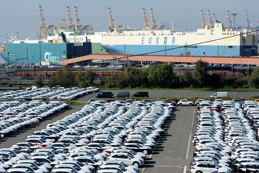 New cars waiting for export at the terminal in Bremerhaven, Germany, on Oct 2.