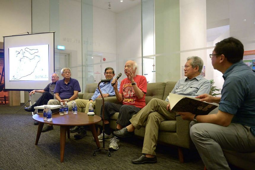 (From left) Veteran architects Koh Seow Chuan, Tay Kheng Soon, Edward Wong, William Lim and Wee Chwee Heng, and architectural historian Lai Chee Kien speaking at a panel discussion at the NUS Museum on Wednesday, Oct 8, 2015.
