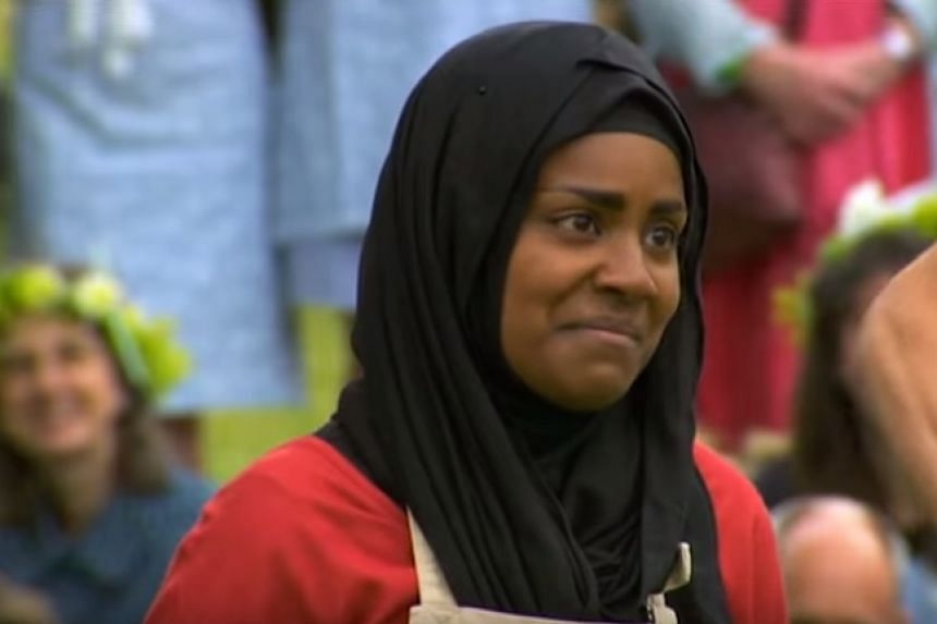 "A screenshot shows Nadiya Jamir Hussain just before she is announced as the ""bake-off"" winner."