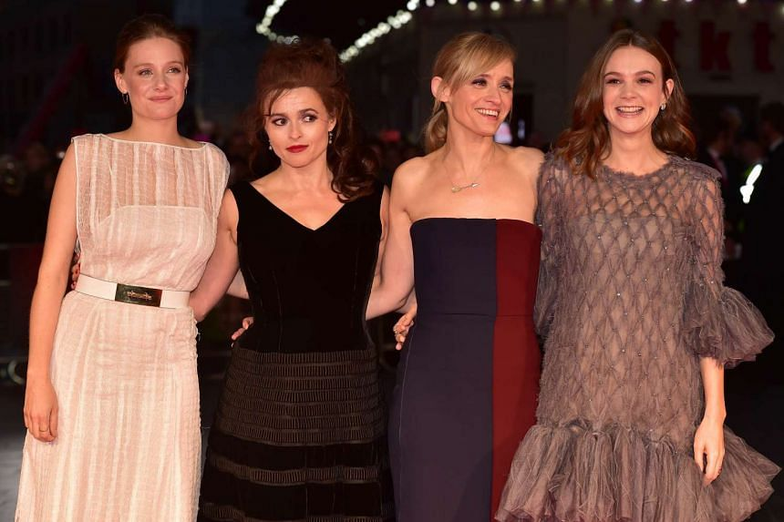 English actresses (from left) Romola Garai, Helena Bonham-Carter, Anne Marie Duff and Carey Mulligan at the Suffragette premiere.