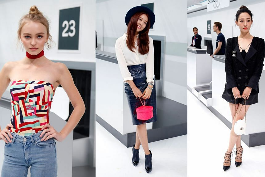 Hot and young stars seen at the show included Johnny Depp's daughter, model Lily-Rose Depp (left), South Korean star Park Shin Hye (centre) and star of hit animated movie Monster Hunt Bai Baihe (right).