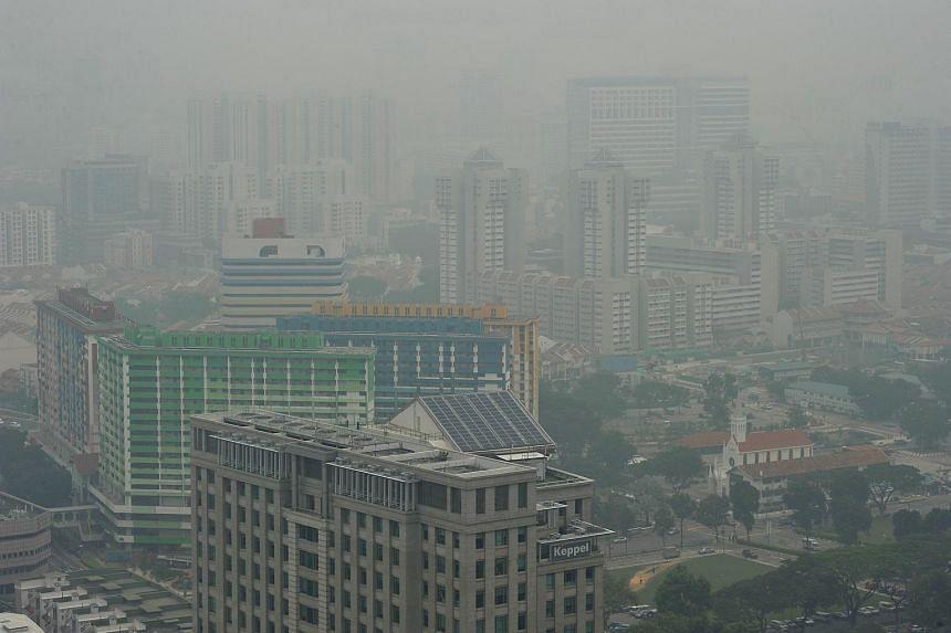 The haze around Bugis at 9.30am on Oct 5.