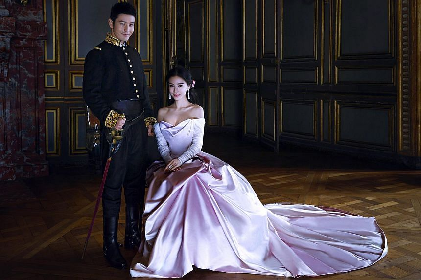 Angelababy and Huang Xiaoming's wedding photos, some of which were taken in Paris, were released by the actress' studio on Oct 8, 2015.