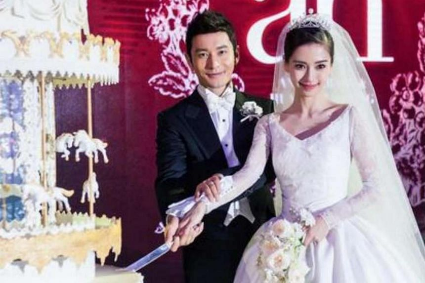 Actors Huang Xiaoming and Angelababy tied the knot last night.