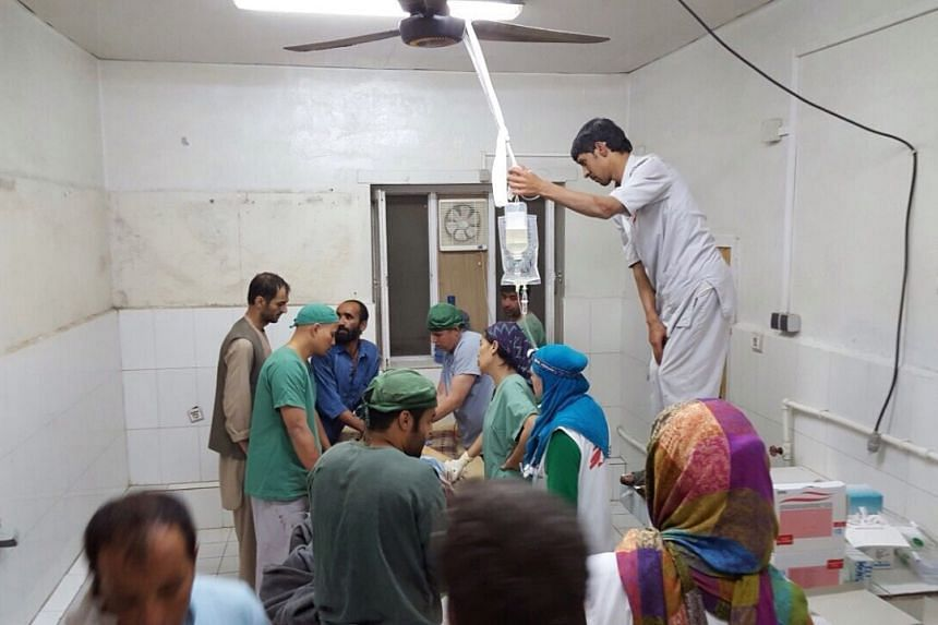 A handout provided by Medecins Sans Frontieres (MSF) shows surgery activities in one of the remaining parts of the hospital in Kunduz in the aftermath of the bombings, Kunduz, Afghanistan, on Oct 3, 2015.