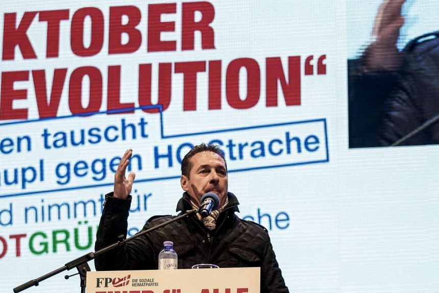 Mr Heinz-Christian Strache, leader of right-wing Austrian Freedom Party speaks with supporters ahead of the local elections at the Stephansplatz on Oct 8, 2015 in Vienna.