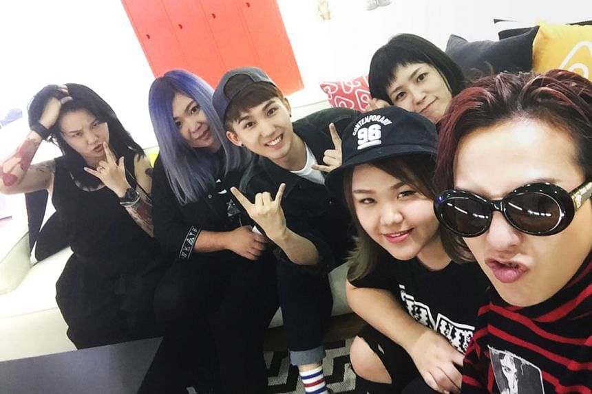 K Pop star G-Dragon (extreme right) with winners of the AirBnb contest, including Merissa Tee (second from right).