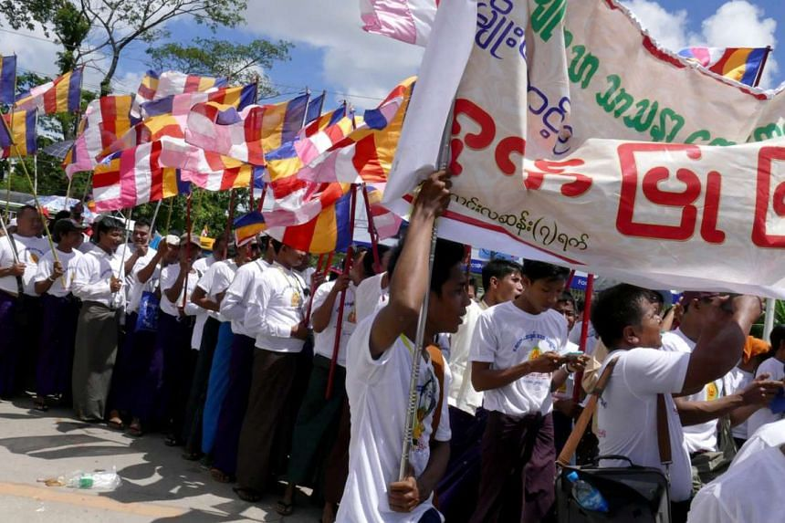 Ma Ba Tha supporters on Oct 4, 2015 in Yangon.