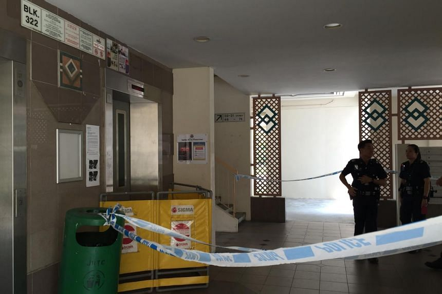 An elderly woman found her left hand trapped in between the lift doors at a HDB block along Tah Ching Road, near Jurong Lake, on Friday morning.