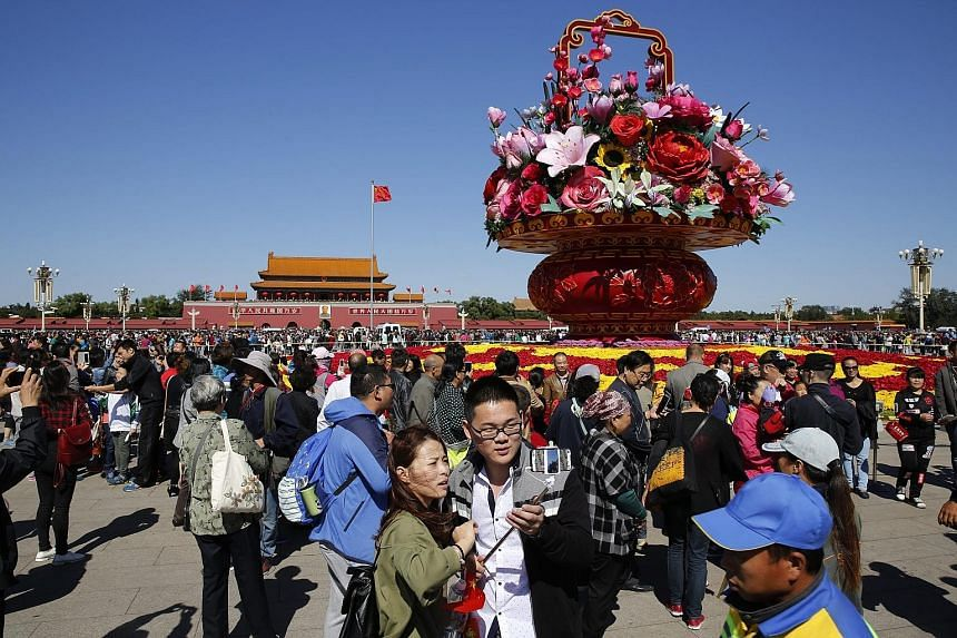 Crowds at Tiananmen Square, Beijing, on Oct 1, at the start of Golden Week.