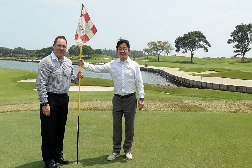 Above: Artist renderings of the Dusit Thani Laguna Singapore hotel that will open in 2017. Left: Laguna National managing director Patrick Bowers (far left) and executive director Kevin Kwee at the golf course.