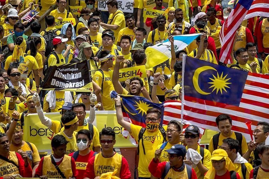 Supporters of pro-democracy group Bersih gathering near Kuala Lumpur's Chinatown on Aug 29.