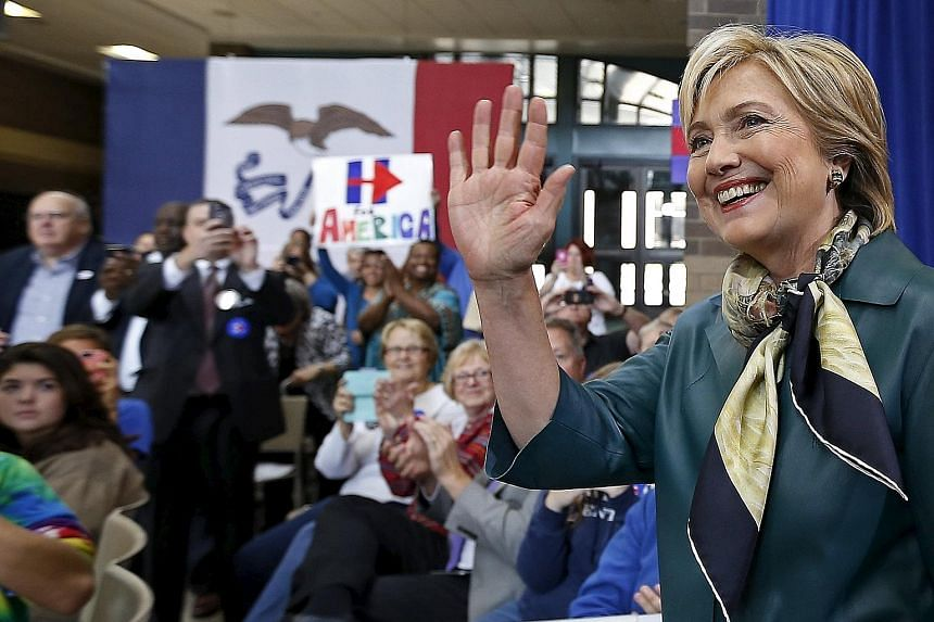 Mrs Hillary Clinton arriving at a campaign event in Davenport, Iowa, this week. The former secretary of state in the Obama administration is proving to be her own woman on the campaign trail.