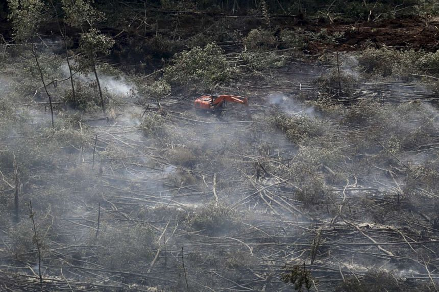 Smoke from peatland fires near a piece of heavy equipment in a forestry concession in Ogan Ilir, South Sumatra province, on Aug 30, 2015, seen in this photo taken by Antara Foto.
