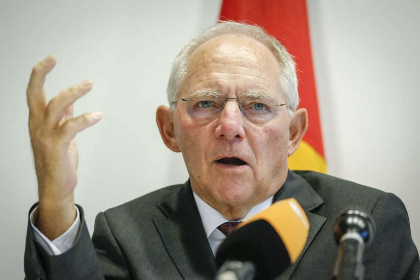 German Finance Minister Wolfgang Schaeuble holding a news conference at the end of the finance ministers meeting at the European Convention Centre in Luxembourg on Oct 6.