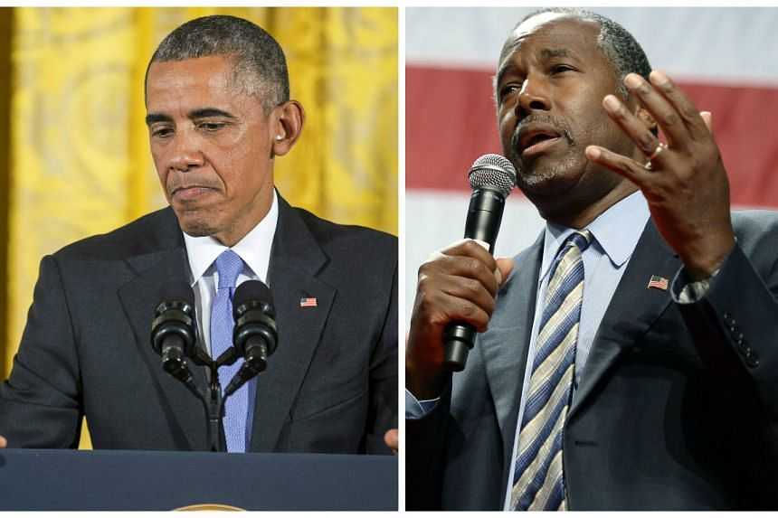 Murdoch compared Obama (left) unfavourably to Republican presidential candidate Ben Carson (right).