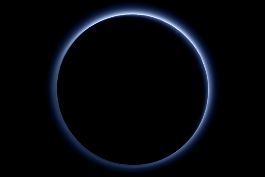 Pluto's haze layer and its blue colour are captured in this picture taken by the New Horizons probe.