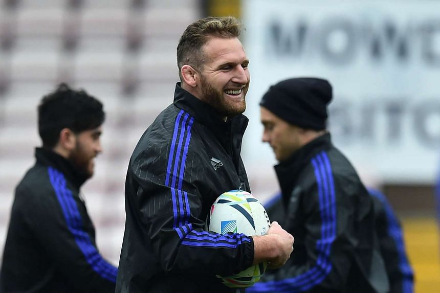 New Zealand All Blacks number 8 Kieran Read attending a training session on Oct 5, 2015.