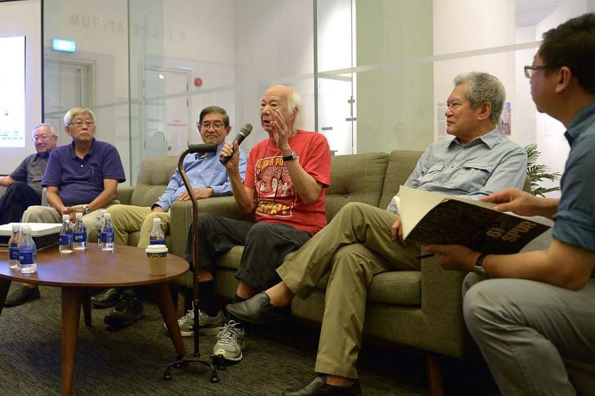 Veterans reunite: (from left) Architects Koh Seow Chuan, Tay Kheng Soon, Edward Wong, William Lim, Wee Chwee Heng and architectural historian Lai Chee Kien at the panel discussion.