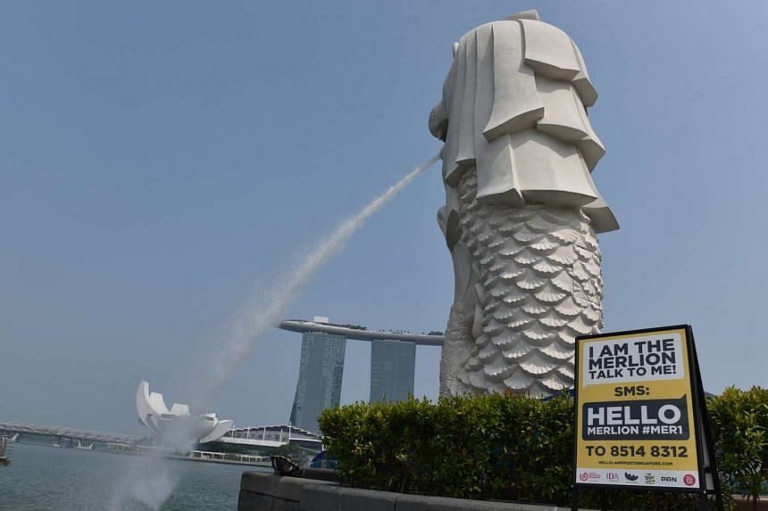 Talk to the Merlion, as part of the Hello Lamp Post project by IDA.