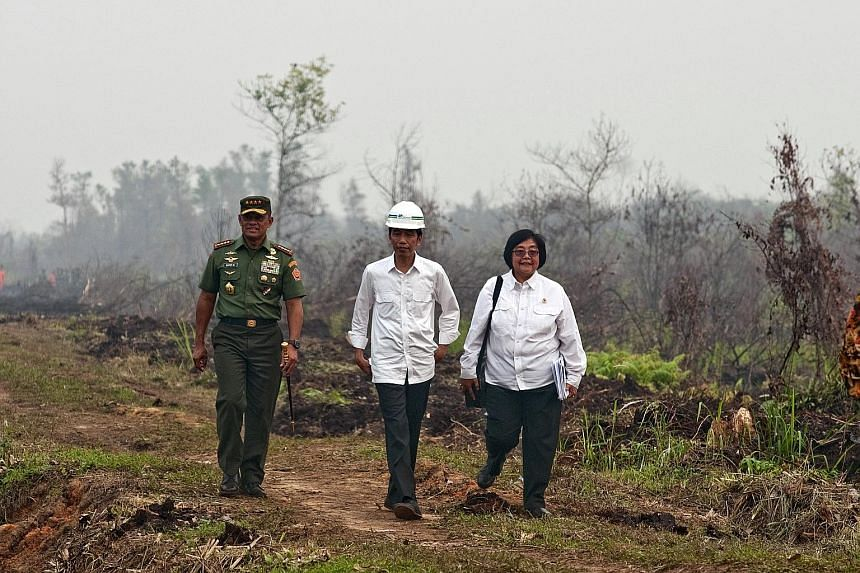 Indonesian President Joko Widodo (centre) with TNI chief Gatot Nurmantyo (far left) and Environment and Forestry Minister Siti Nurbaya yesterday as they reviewed the handling of forest fires at the Long Rimbo village in Kampar regency, Riau province.