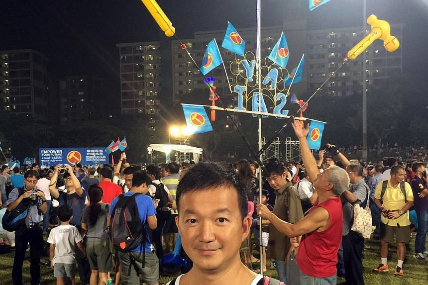 Hong Kong legislator Raymond Chan at a Workers' Party rally during last month's GE2015 campaigning. He also attended rallies by the PAP and Singapore Democratic Party.