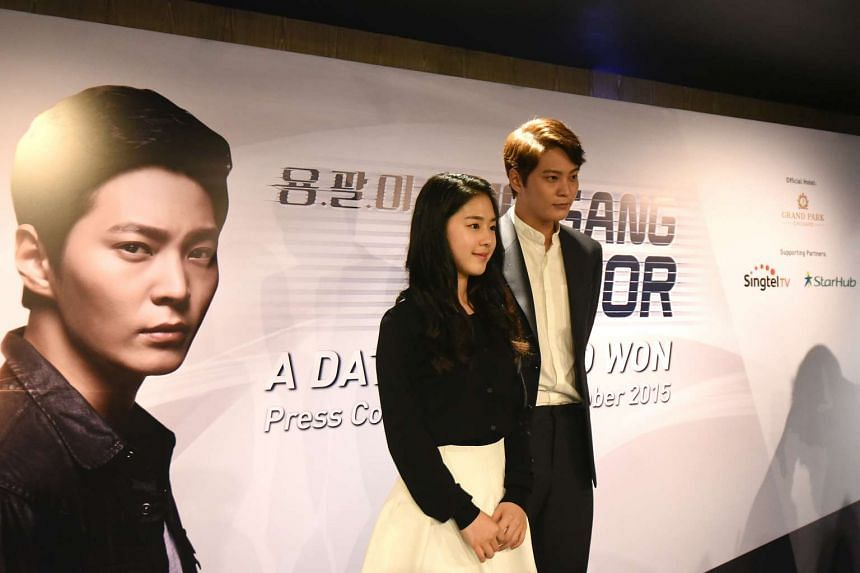 Korean actor Joo Won was in Singapore on Saturday with co-star Park Hye Su to promote The Gang Doctor, in which he stars as a physician that treats gangsters.