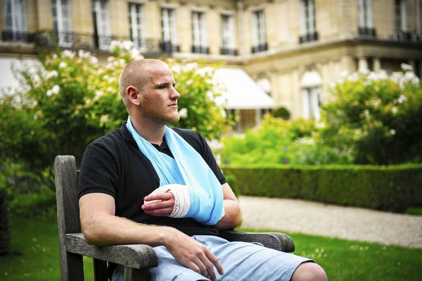 Spencer Stone is interviewed following the attack on a French train which he helped foil.