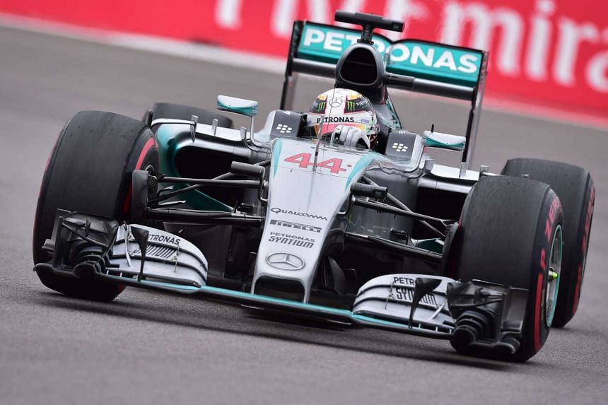 Mercedes driver Lewis Hamilton of Britain drives his car during the Russian Formula One Grand Prix at the Sochi Autodrom circuit on Oct 11, 2015.