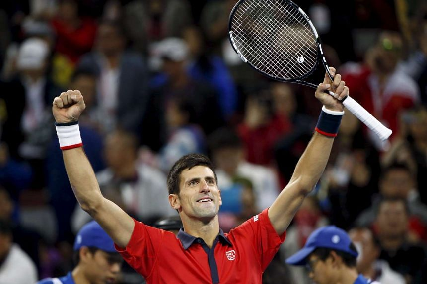 Novak Djokovic of Serbia celebrating after defeating Rafa Nadal of Spain in the men's singles final at the China Open in Beijing, on Oct 11, 2015.
