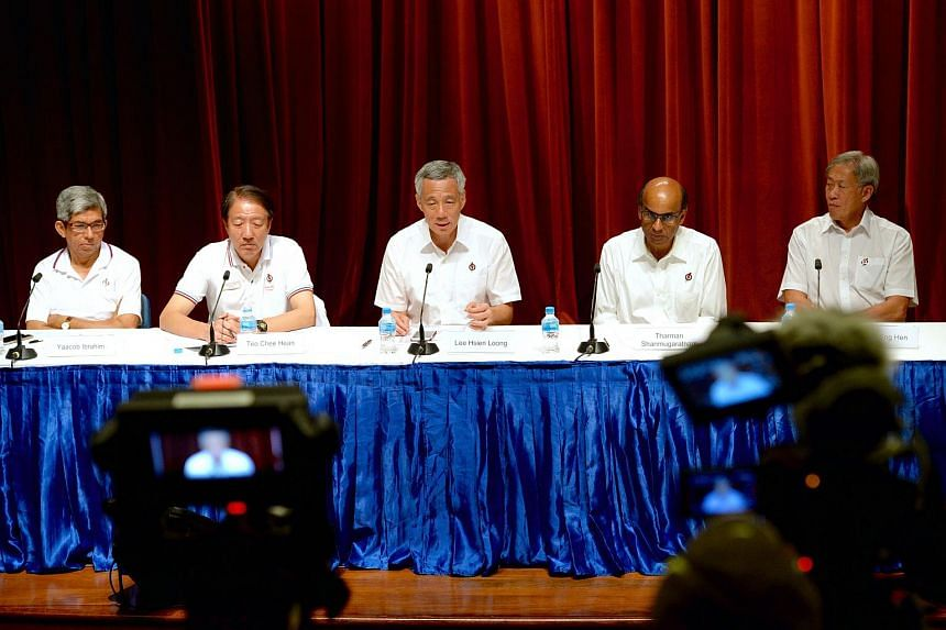 Prime Minister Lee Hsien Loong speaking to the media during the press conference on the early morning of Sept 12, 2015.