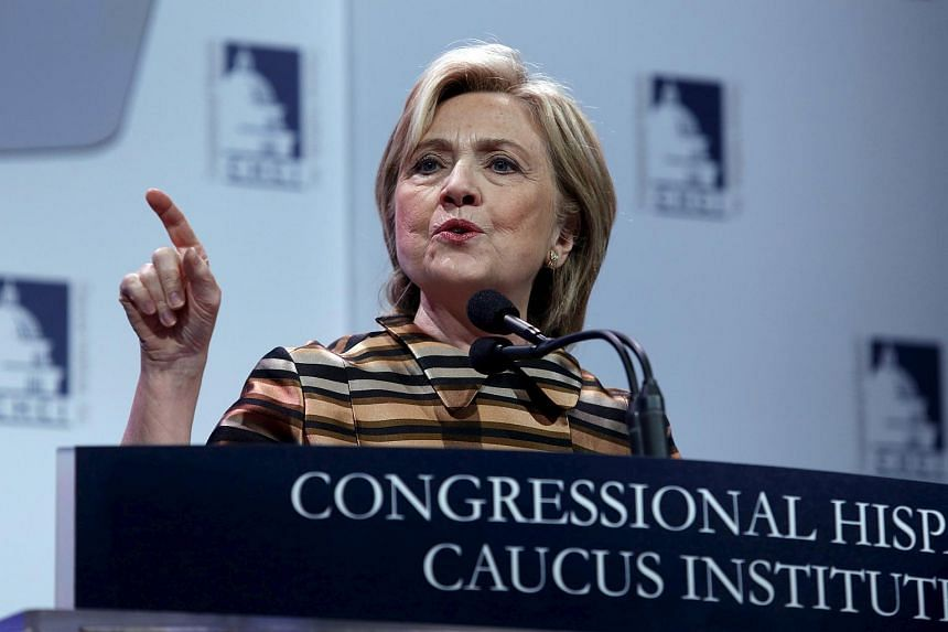 US Democratic presidential candidate Hillary Clinton delivers remarks at the Congressional Hispanic Caucus Institute's 38th annual Awards Gala in Washington on Oct 8, 2015.